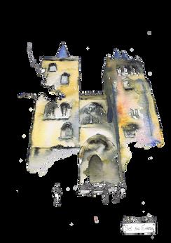 Sé de Évora 2 Aguarela sobre papel canson 200gr. Tamanho: 29,7cmx21cm  Para venda. Entre em contacto para detalhes. | For sale. Contact for details.  Évora Cathedral 2 Watercolor on canson paper 200gr. Size: 29.7cmx21cm
