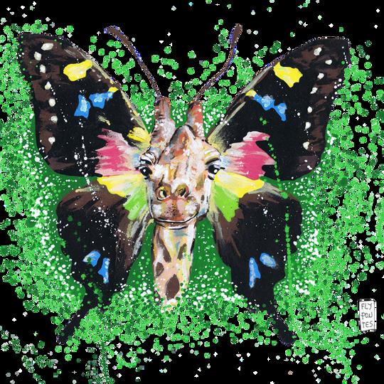 Girafa-Borboleta Pintado com os marcadores One4all, da Molotow. Tamanho: 29,7cmx42cm  Para venda. Entre em contacto para detalhes. | For sale. Contact for details.  Giraffe-Butterfly Painted with Molotow's One4all markers. Size: 29.7cmx42cm