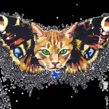 Amir, o gato. Retratado aqui com asas de borboleta. Pintado com os marcadores One4all, da Molotow. Tamanho: 29,7cmx42cm  Trabalho encomendado. Não está à venda | Commissioned work. Not for sale  Amir the cat. Pictured here with butterfly wings. Painted with Molotow's One4all markers. Size: 29.7cmx42cm