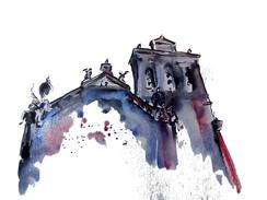 Igreja dos Meninos da Graça Aguarela sobre papel canson 200gr. Tamanho: 29,7cmx21cm  Para venda. Entre em contacto para detalhes. | For sale. Contact for details.  Meninos da Graça Church Watercolor on canson paper 200gr. Size: 29.7cmx21cm