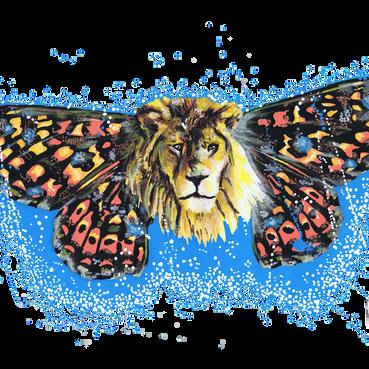 Leão-Borboleta Pintado com os marcadores One4all, da Molotow. Tamanho: 29,7cmx42cm  Para venda. Entre em contacto para detalhes. | For sale. Contact for details.  Lion-Butterfly Painted with Molotow's One4all markers. Size: 29.7cmx42cm