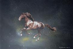 Cavalo Castanho Stencil e spray sobre tela. Tamanho: 40cmx50cm  Trabalho encomendado. Não está à venda | Commissioned work. Not for sale.  Brown Horse Stencil and spray on canvas. Size: 40cmx50cm