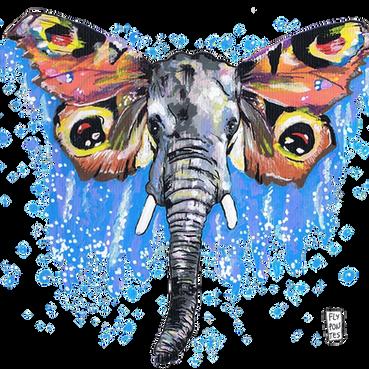 Elefante-Borboleta Pintado com os marcadores One4all, da Molotow. Tamanho: 29,7cmx21cm  Trabalho encomendado. Não está à venda | Commissioned work. Not for sale.  Elephant-Butterfly Painted with Molotow's One4all markers. Size: 29.7cmx21cm