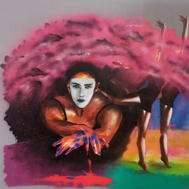 Bailarinas Técnica: Spray sobre painel de madeira. Tamanho: 250cm x 180cm  Pintura efemera. Impressões disponiveis por pedido  Dancers Technique: Spray on wooden panel. Size: 250cm x 180cm  Ephemeral painting. Prints available by order
