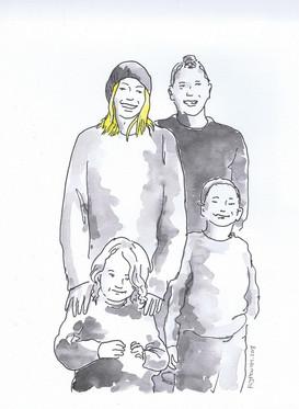 Retrato de Familia Aguarela sobre papel canson 200gr. Tamanho: 29,7cmx21cm  Trabalho encomendado. Não está à venda | Commissioned work. Not for sale.  Family Portrait Watercolor on canson paper 200gr. Size: 29.7cmx21cm