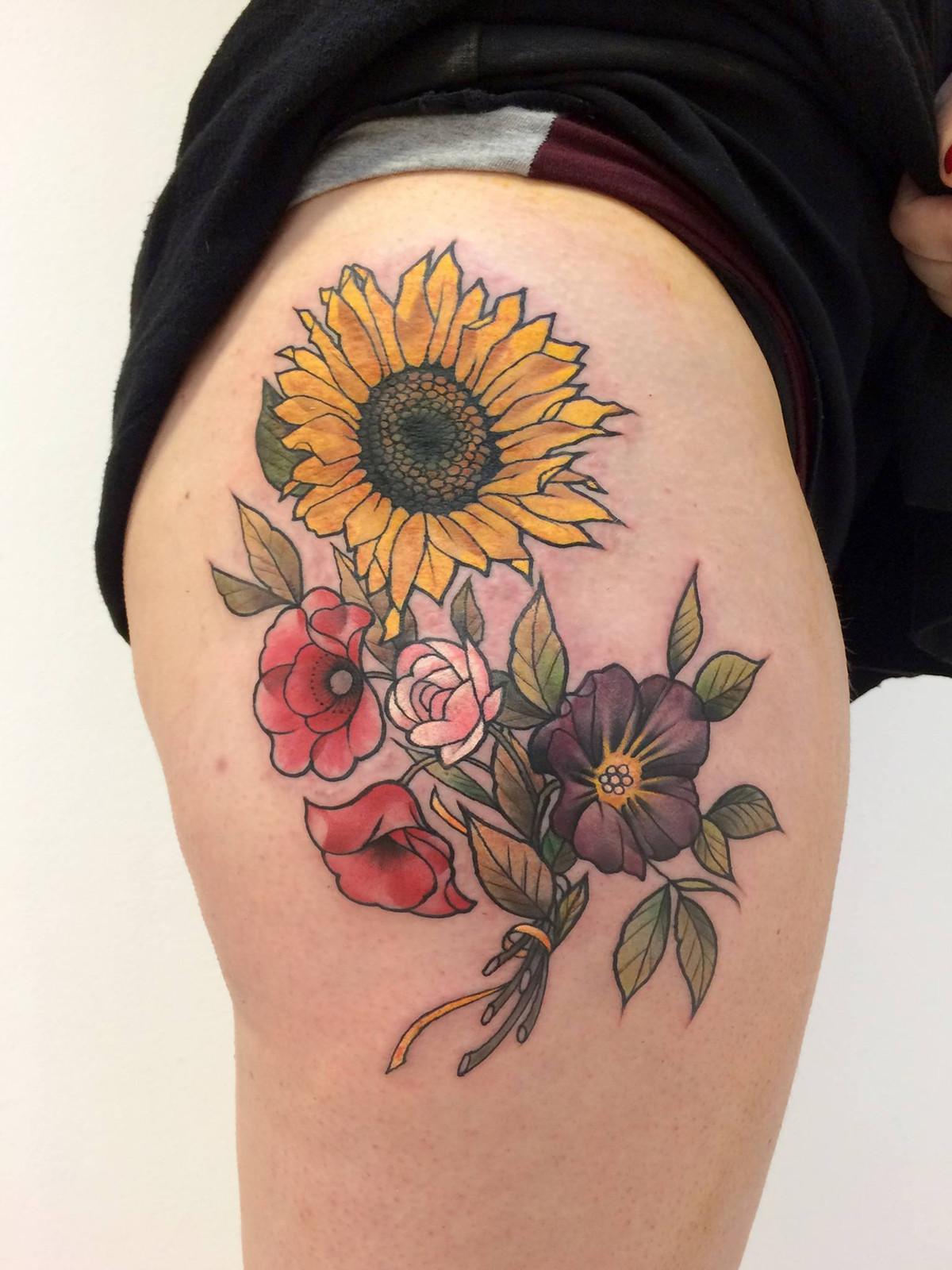 Alba Bouquet Of Flowers Tattoo