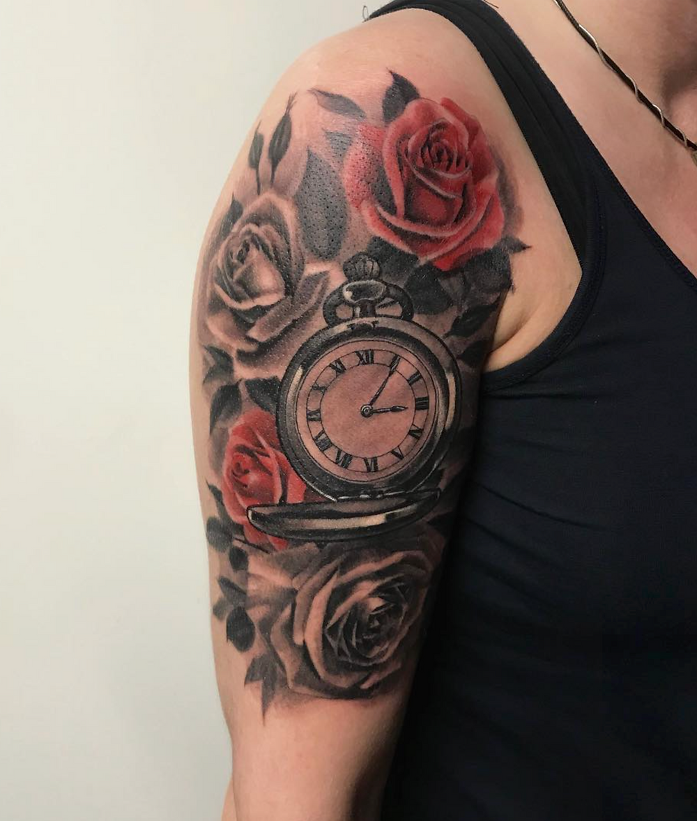 Pocket watch and roses by Vesko