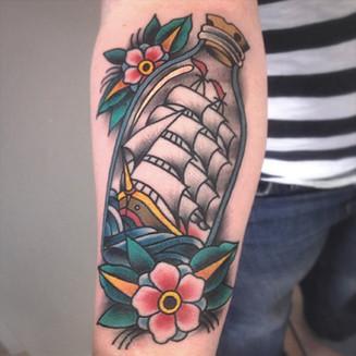 Vesko Traditional Ship in a Bottle Tattoo
