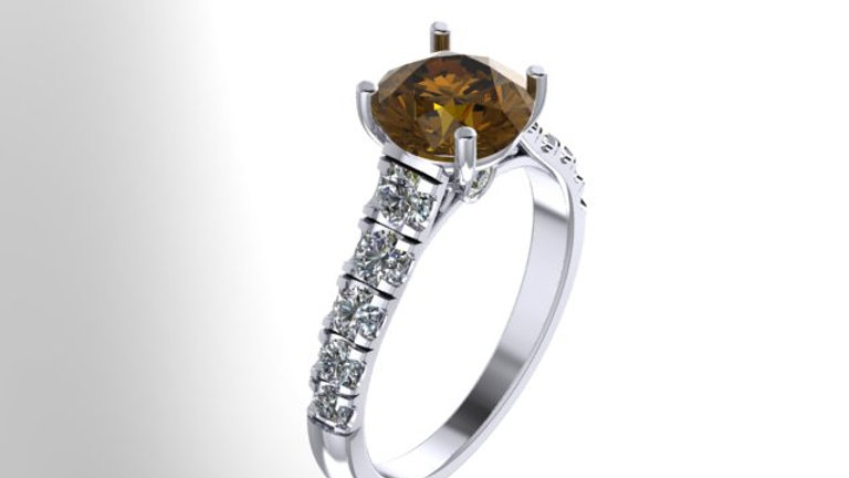 Cathedral solitaire with side surprise diamonds