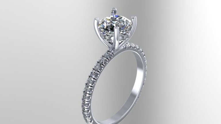 Solitaire with micropave gallery ring