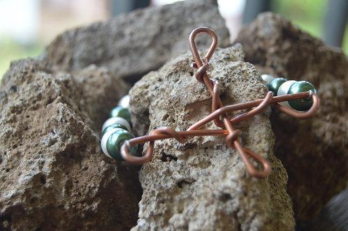 Copper Cross with Beads Bracelet