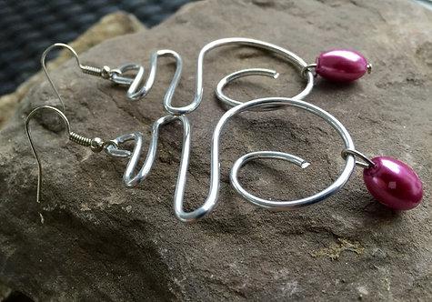 Silver Swoop Bead Earrings