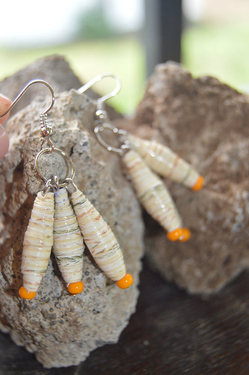 Trifecta Paper Bead Earrings