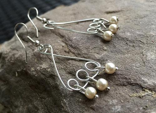 Tripple Hoop Dangle Earrings