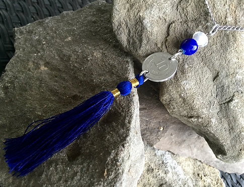 Blue Tassel Coin Necklace