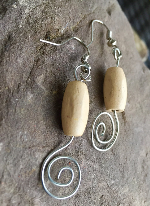 Silver Swirl Wood Bead Earrings