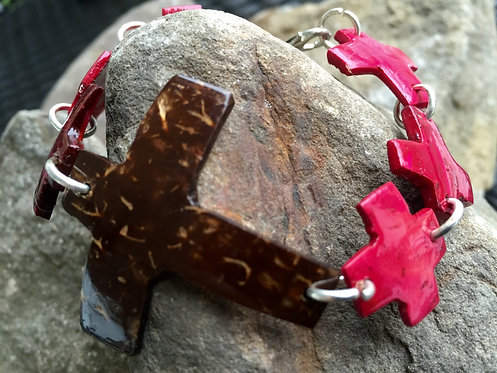 Pink Cross Coconut Shell Bracelet