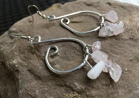 Stone Half Hoop Earrings