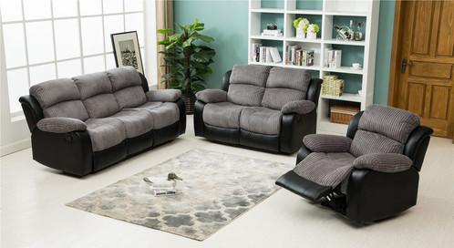 Luxury Carrat 3 2 1 Seater Jumbo Cord Faux Recliner Sofa Suite