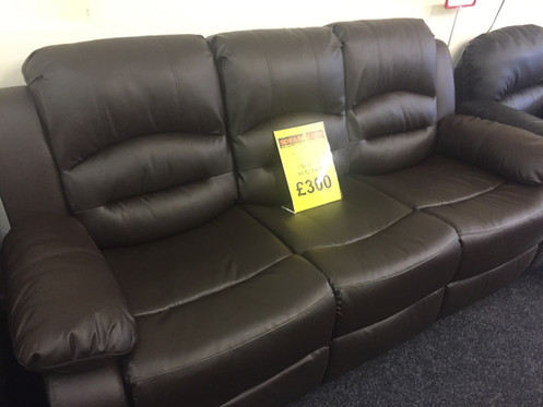 3 Seater Bonded Leather Recliner Sofa - Brown