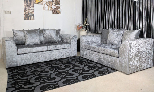 3 2 Seater Crushed Velvet Sofa Set Silver