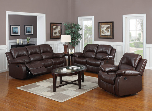 Amber 3 2 1 Seater Bonded Leather Recliner Sofa Suite Brown