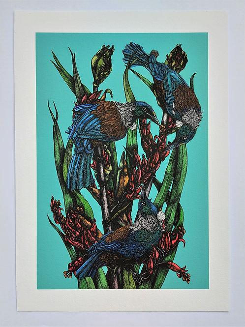 Rachel Meehan | Three Tuis & Flax II