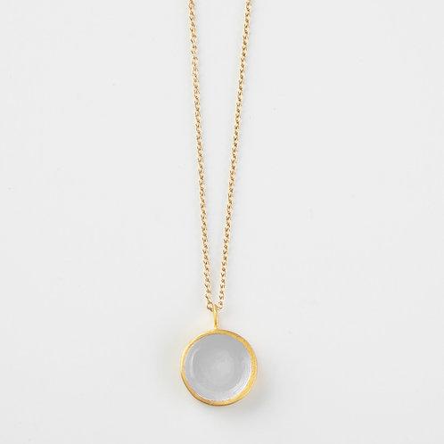 Ornato   Circle Gold and Enamel Necklace   White