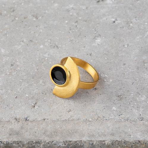 Ornato   Semi Circle Gold Ring with Enamel