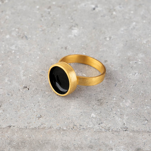 Ornato   Circle Gold Ring With Enamel