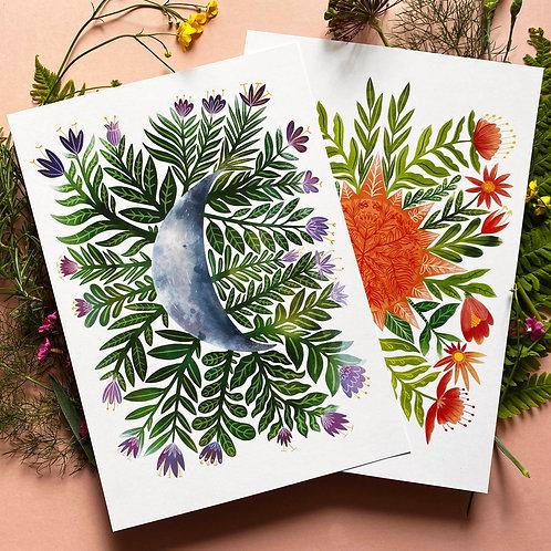 Samantha Dolan   Botanical Sun And Moon Art Print Pack