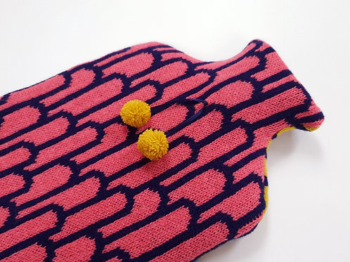 Candy Coated Accessories   | Rose Petal & Navy 2L Hot Water Bottle Cover