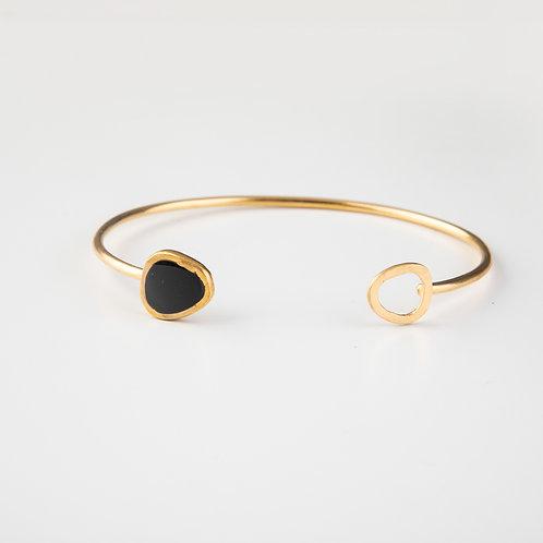 Ornato | Gold and Enamel Cuff Bangle | Black