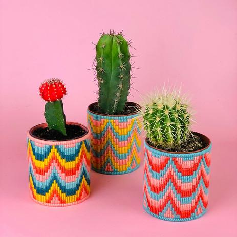 Bargello Plant Pot with The Edinburgh Craft Club