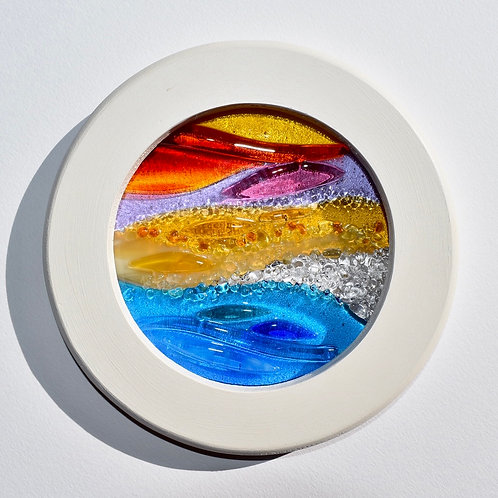 Standing on a beach | Fused glass panel
