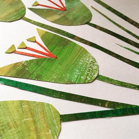 Painted paper Mark making collage with Nicki Bradwell Design
