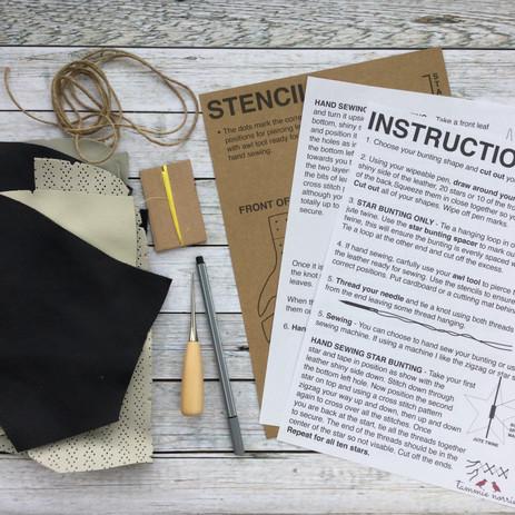DIY Leather Bunting Kit - Leaves & Stars