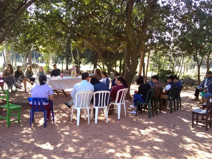 Church service in New Alanzia, Paraguay