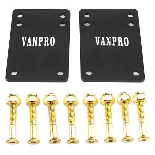 Vanpro Skateboard Deck trucks Risers PU Shock pads Mounting Hardware Screws Out