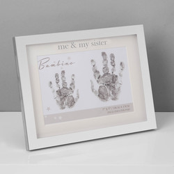 Silver Plated Me & My Sister Handprint Photo Frame