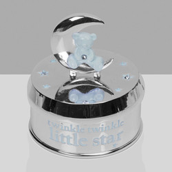 Silver Plate Musical Bear in Moon