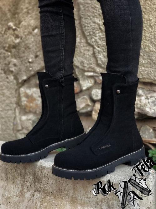 Chekich Black Boots Suede