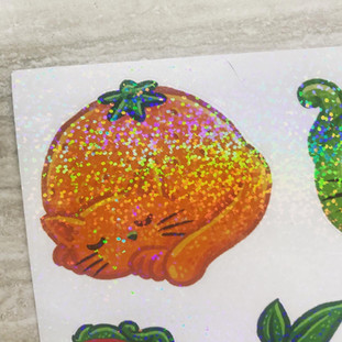 planche de stickers chats-fruits
