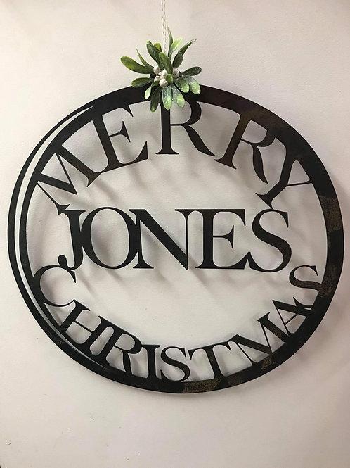 Custom Merry Christmas Wreath