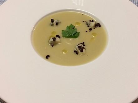 Crema di topinambur, gorgonzola e cioccolato