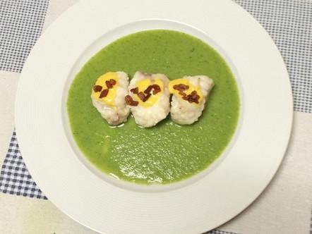Coda di rospo in salsa di broccoli,maionese e guanciale croccante