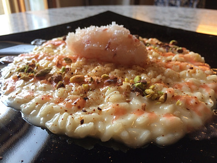 Riso Carnaroli, scampo, pistacchio e pomodoro