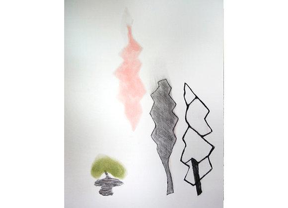 Gilda Castillo - C.H. Hoja rosa y negra bolita verde