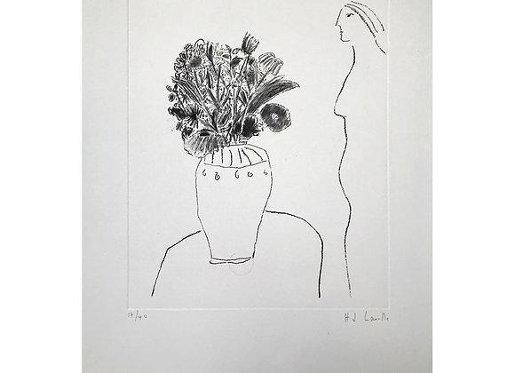 Joy Laville - Perfil de mujer con florero II