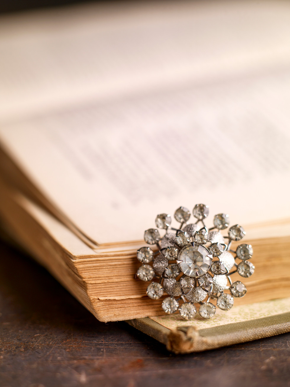Antique Broach On Book